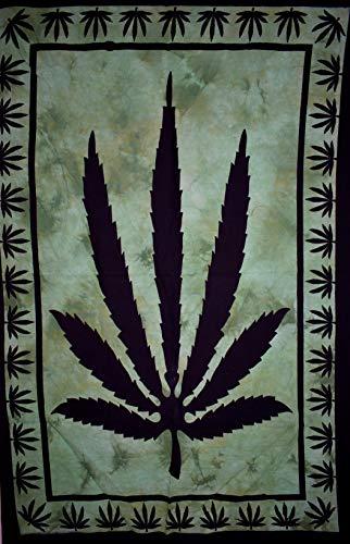 Traditional Jaipur Bob Marley Psychedelic Herbal Weed ~ Rasta Marihuana Blatt Poster, Hippie Wandbehang, Tagesdecke aus Baumwolle 30 x 40 Zoll