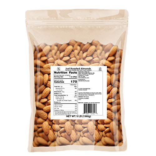 Just Roasted Almonds (Whole, Non-GMO, Certified Gluten Free, Protein Fiber) (Un-Salted, 3LB)