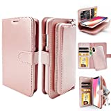 ZUSLAB Purse Wallet for Apple iPhone Xs Case (2018) / iPhone X Case (2017) with Detachable Back Cover and Leather Card Slots Holder - Rose Gold