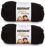2-Pack - Bernat Softee Chunky Yarn, Black, Single Ball