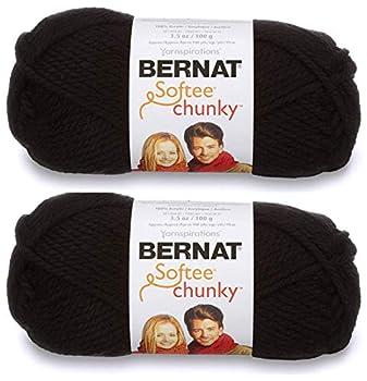 2-Pack - Bernat Softee Chunky Yarn Black Single Ball