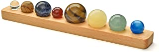 Sunligoo Solar System Planets Office Home Desk Decor Healing Crystals Stones Gift Kit Natural Tumbled Gemstones Ball Set With Wood Stand for Decoration, Chakra Healing, Reiki, Good Luck - No Engraving