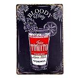 Alcohol nostálgico Bloody Mary Receta salón - Signo de estaño Metal Vintage Retro decoración Mural Pintura de Carteles Placas Arte Pub Barbacoa Bar de Cerveza Vino Alcohol Pinup Garaje Gasolinera USA