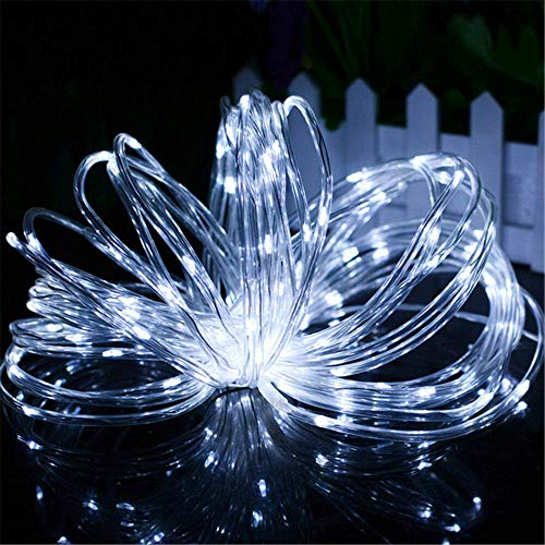 Chinety Solar String Lights Outdoor, 2 Pack 100 LED Solar Rope Lights 8 Modes Silver Wire Fairy Lights Waterproof Outdoor PVC Tube String Lights for Garden Fence Yard Summer Party Decor (Cool White)