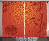 ABAKUHAUS asiático Cortinas, Tradicional Arte de la Naturaleza, Sala de Estar Dormitorio Cortinas Ventana Set de Dos Paños, 280 x 245 cm, Anaranjado pálido Borgoña