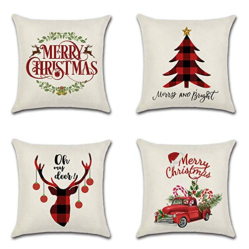 FGHSD Christmas Pillowcase 18×18 Inch Cotton And Linen Decoration Printing Christmas Tree, Cartoon Deer, Sofa Cushion Cover Christmas Ornament Throw Pillowcase Set of 4