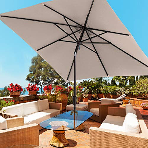 ROWHY Square 8×8ft Patio Table Market Umbrella Outdoor Portable Garden Sunshade with Push Button Tilt and Crank Lift System UV Protection Waterproof Sunproof for Lawn Garden, Deck, Backyard (Beige)