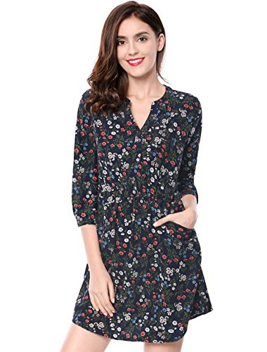Allegra K Women's Button Down Floral Print V Neck 3/4 Sleeves Vintage Shirt Dress XS Dark Blue