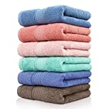 Cleanbear Cotton Hand Towel Set 6-Pack Ultra Soft Hand Towels with Assorted Colors (13 x 29 Inches) Lightweight and Quick Dry Bathroom Towels
