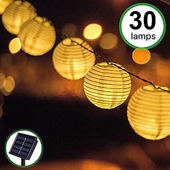 Bawoo Solar Garden Lanterns, Waterproof 30 Outdoor Solar String Lights for Garden Outdoor Wedding Party, White