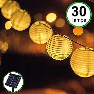 Guirnaldas de Luces Solar Jardín LED Bawoo 30 LED Guirnaldas Luces Exterior 5,5m Impermeable IP65 Guirnalda Luces Decoración Exterior Interior Luz Navidad Fiesta Ceremonia Jardín Casa (Blanco Cálido)