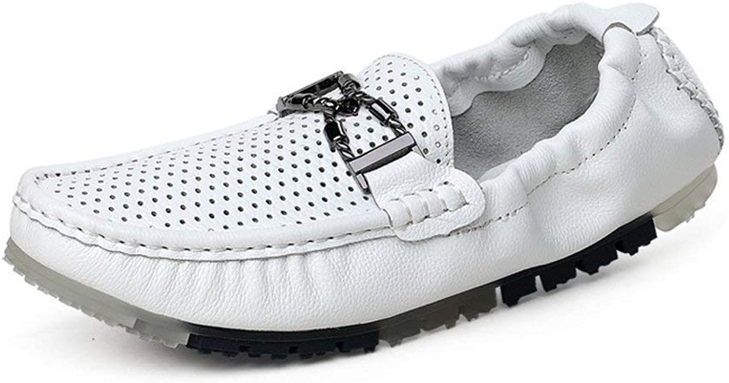 FuweiEncore Men's Moccasins shoes, Men Driving Penny Loafers Hollow Upper Boat Moccasins with Metal Decor & Rear Elastic (color  White, Size  43 EU) (color   White, Size   44 EU)