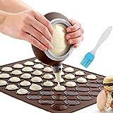 Nifogo Macaron Molde, 48 Capacidad Macaron Silicone Baking Mat, Decorating Pen Icing Tips Con 4 boquillas (Y-Café+Cepillo)