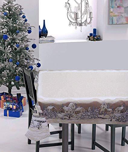 KUTEX Esclusiva Tovaglia di Natale Moderna Rettangolare in 100% Cotone con Stampa Eco-Friendly...