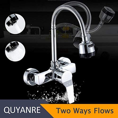 5151BuyWorld waterkraan, verchroomd, wandhouder, draaibaar, keukenkraan, dubbelgat, mengkraan met druksproeier, dubbele flux, flexibele slang Swivel Faucet