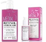 Medix 5.5 Retinol Cream & Retinol Serum two-piece set. Anti-aging retinol set w/ferulic acid for wrinkles, fine lines, expression lines, dark spots. Contains 2oz serum & 15oz cream for face & body
