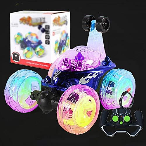 RC Cars Toy For Kids, Control Remoto Stunt Car, Juguetes DE VEHÍCULOS con LUCTURAS Y MÚSICA, Flick DE Libertad DE 360 ° ROTANTE, Trasera, CULTAMIENTO DE CULTADOR DE TIROS DE Trasera (Color : Azul)