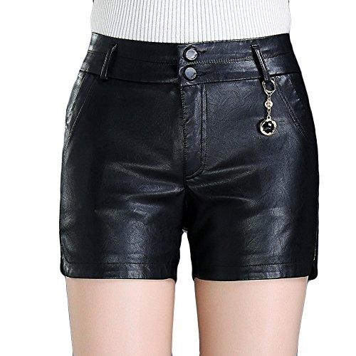 EMMA Dames herfst winter lederen shorts kunstleer hotpants hoge taille kort mini broek