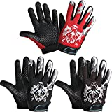 3 Pairs Kids Cycling Gloves Kids Full Finger Bike Gloves Children Sport Gloves Non-Slip Breathable Children Fishing Gloves for Outdoor Sports Riding Camping Climbing Parkour (Black, Red, Brown)