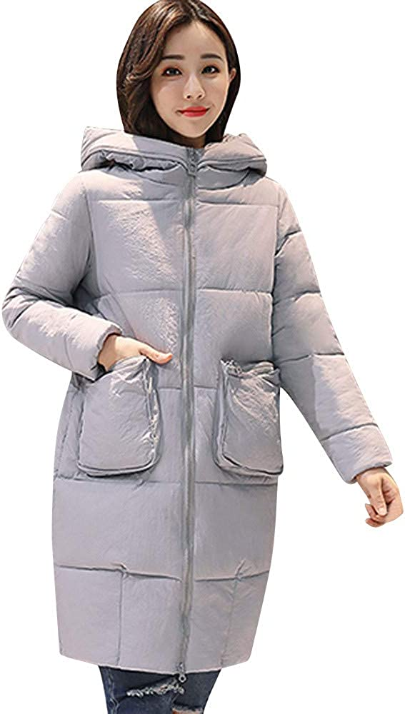 YKARITIANNA Women Soft Comfy Quilted Winter Warm Faux Fur Hooded Thick Warm Slim Jacket Long Overcoat Coat Jackets & Parkas Gray