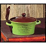 Jozie B 246255 May Your Troubles Be Less Stoneware Bowl & Spoon, 14 oz