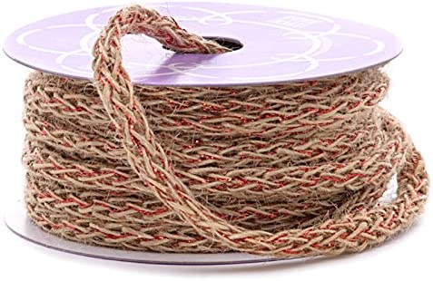 8mm X 10 Max 77% Manufacturer direct delivery OFF Yards NTRL Red Braid Burlap Cord Mtllc Soft