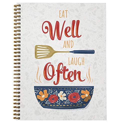 """Softcover Eat Well 8.5"""" x 11"""" Recipe Spiral Notebook/Journal, 120 Recipe Pages, Durable Gloss Laminated Cover, Gold Wire-o Spiral. Made in the USA"""