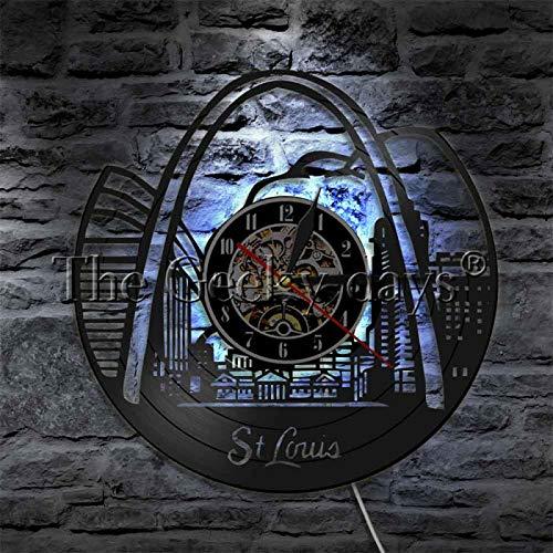 ROMK Reloj de Pared Saint Louis Skyline LED Lights STL City 3D LED Wall Lights USA Tourim Lámpara de Pared Que Cambia de Color con luz de Pared led remota
