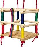 small foot 6997 Altalena da bambino in legno con cintura, in colori vivaci e maniglie di molti, dai 18 mesi in su