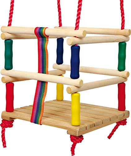 small foot 6997 Kleinkindschaukel aus Holz mit Gurt, in bunten Farben und vielen Haltegriffen, ab 18 Monaten