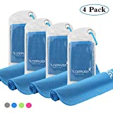 "SYOURSELF 4 Pack Cooling Towels for Instant Relief-Cool Bowling Fitness Yoga Towel -40""x12"" Use as Cooling Neck Headband Bandana Scarf,Stay Cool for Travel Camping Golf Football&Outdoor Sports(Blue) fitness headband Jan, 2021"