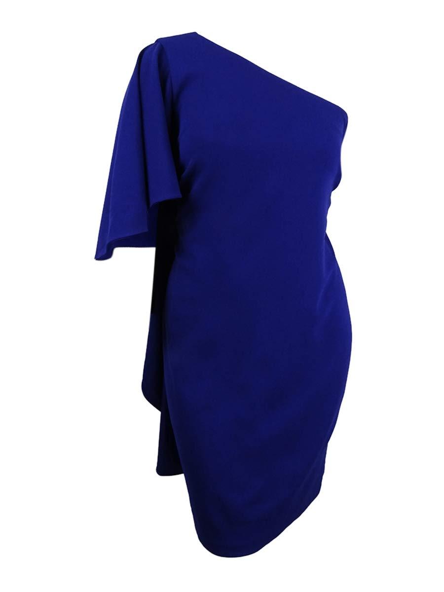Available at Amazon: Calvin Klein Women's Plus Size Draped One-Shoulder Dress (22W Ultramarine)