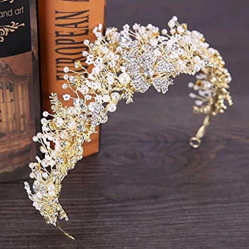 Flor en forma de aleacin Tiara Hecho a mano Rhinestone Crown Crown Pearl Venetiano Pearl Diadema Nupcial Peluquera Joyera corona de princesa ZJSXIA