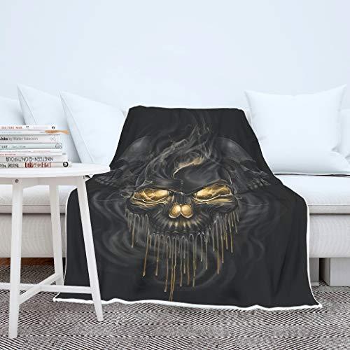 Schädel Totenkopf Schwarze Druck Wohndecke Tagesdecke Decke Kuscheldecke Schlafdecke Winter Sessel Wohndecke für Mädchen Jungen White 130x150cm