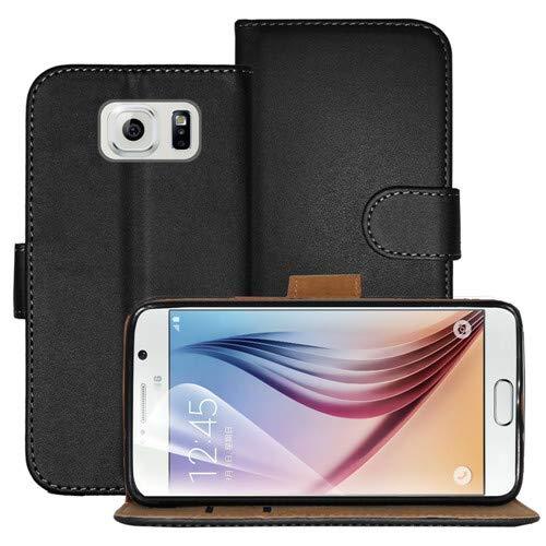 betterfon   Buch Tasche Hülle Etui Book Hülle Cover Schutz Hülle Handy Tasche für Samsung Galaxy S6 Schwarz
