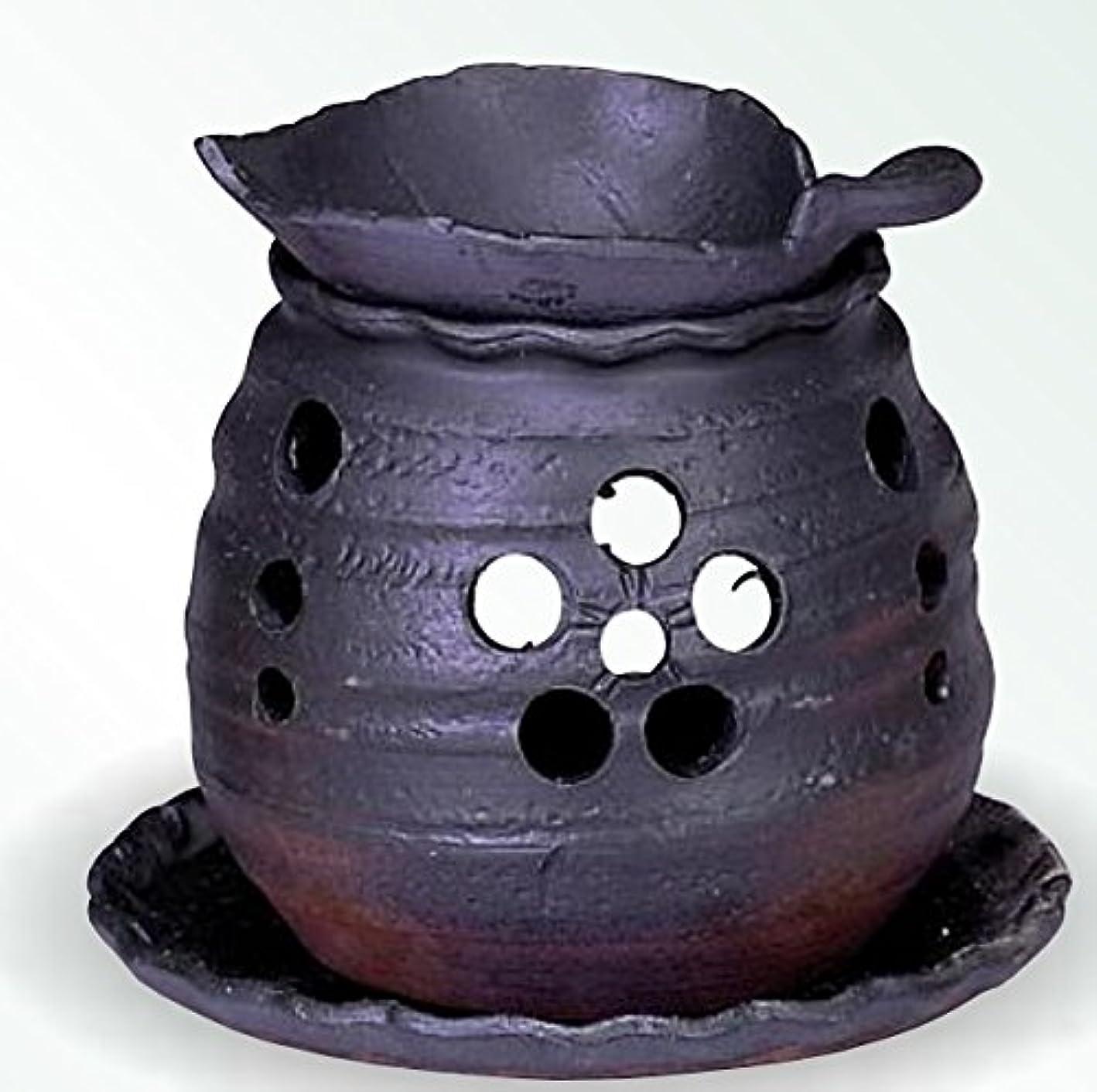 冗長勃起初心者常滑焼 茶香炉(アロマポット)木ノ葉皿 径10×高さ10.5cm