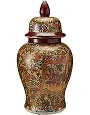 """Oriental Furniture 18"""" Rose Medallion Porcelain Temple Jar"""