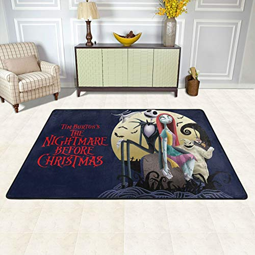 Anime Nightmare Before Christmas Area Rug Anti Slip Stain Resistant Ultra Soft Rectangle Mat Peripheral Carpet Door Mat Washable Indoor Home Decor Novel for Man Bedroom Living Room Office 36'X24'