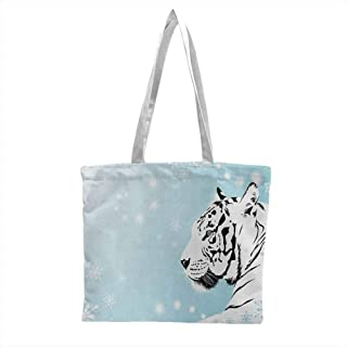 canvas totes bulk,Tiger White Bengal Beast Lies against Snowy Background Beautiful Eyes Majestic Nature,Washable & Eco-friendly Bags Turquoise Black