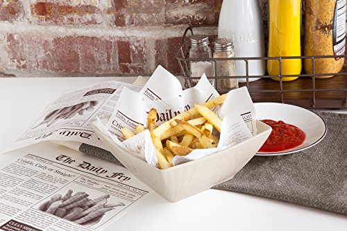 Fox Run 13200 French Fry Wax Paper Liners, Newsprint, 24-Count