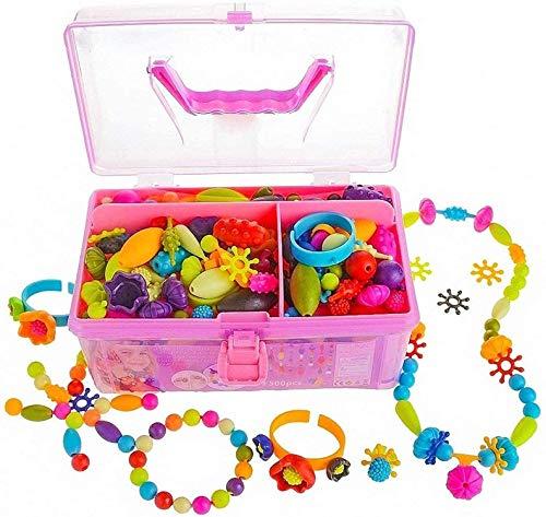 Juego de cuentas de broche de presión, para niñas de 4 a 12 años de edad, juguetes para manualidades y manualidades para niños, collar y pulsera (480 piezas)