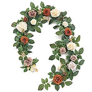 Ling's moment Artificial Rose Flower Runner Rustic Flower Garland Floral Arrangements Wedding Ceremony Backdrop Arch Flowers Table Centerpieces Decorations (5FT Long, Terracotta)