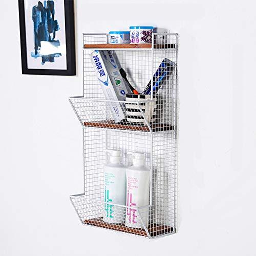 Wall Shelves-WXP ☝ZWJ Hölzerner Metalldraht 3/4 Reihe an der Wand befestigte Küche-Frucht-Erzeugnis-Behälter-Gestell/Badezimmer-Tuch-Körbe 410 (Farbe : Weiß, größe : B)