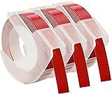 Cartridges Kingdom 3 Cintas de estampación 3D 9 mm x 3 m color blanco sobre fondo rojo S0898150 compatibles para Dymo Omega y Junior impresoras de etiquetas | plástico, autoadhesiva