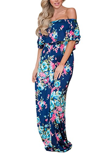 Happy Sailed Women Floral Print Off Shoulder Maxi Dresses, Small Blue