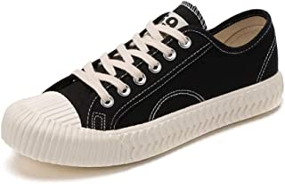 カジュアルスニーカー 女性の靴のためのキャンバススニーカーロートップはスニーカーをひもで締めます (Color : Black, Size : 39)