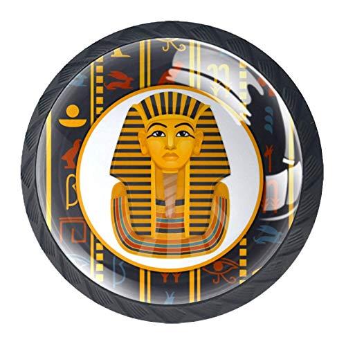 Yuzheng 4 Piezas Pomo y Tiradores Rey Egipcio Manija del Cajón Tirón Gabinete de Muebles Armario Ronda Retro Estilo Decorativo,Redondo, Negro 3.5×2.8cm