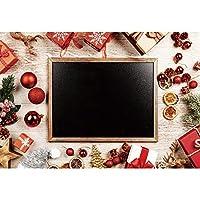 Qinunipoto 3mx2.5m背景布 Merry Christmas クリスマスギフトボックスクリスマスボール小さな黒板子供写真大人写真ビデオライブ背景Youtubeクリスマスパーティーの装飾家の装飾幼稚園学校の装飾