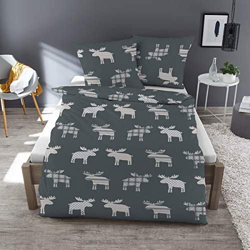 Dormisette Feinbiber Bettwäsche Elch grau 1 Bettbezug 135x200 cm + 1 Kissenbezug 80x80 cm