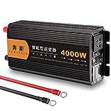 QTCD Inversor de Corriente de Onda sinusoidal Pura de 4000W (Peak) DC 12V / 24V a 230V 240V AC Convertidor Inversor con 1 USB 2 Adaptador de enchufes de CA con Pantalla LCD, 12V